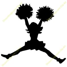 cheerleader silhouette clip art download free versions of the image rh pinterest com clip art cheerleader pom poms clipart cheerleader bow