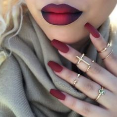 50 Coffin Nail Art Ideas-Achieve a sophisticated and sensual look by adding a trend to a trend. Matte maroon nail polish works best on these elongated coffin nails. And then partner it off with a matte maroon and black ombre lips to complete the look. Matte Maroon Nails, Red Nails, Hair And Nails, Matte Red, Burgundy Nails, Maroon Lipstick, Purple Nail, Gradient Nails, Pastel Nails