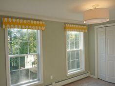 DIY: window treatments - Boxy Cornice things - I like these for our bedroom, in a medium grey linen or something... I might attach the sides to the front board before I wrap the fabric so there's no visible joint at the corners...