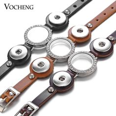 18Mm Vocheng Snap Charms Glass Memory Lockets Leather Bracelet 3 Colors Nn-535