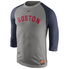 Boston Red Sox Nike Cooperstown Collection Tri-Blend Three-Quarter Sleeve T-Shirt  - Gray
