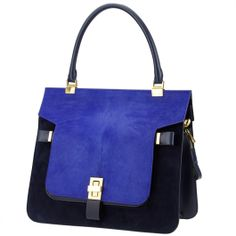 Beautiful 3-in-one bag from Vionnet, converts from tote, to shoulder bag, to clutch. In indigo blue navy blue combination. From Wunderl in Austria. shop.wunderl.com