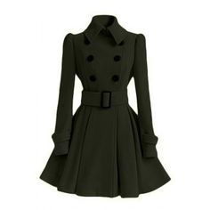 Women's Chic Belt Long Sleeve Winter Coat Dress (ARMY GREEN,S) in Jackets & Coats | DressLily.com