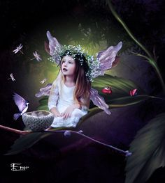 Fondo:Background 10 modelo:Little Forest Fairy_1 insectos:Bug Pack pajaro:Small Birds PSD rama:Acorn psd huevos:Eggs 1 dragonfly:Magic Dragonflies free png alas:Metallic Wings