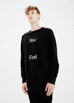 Acne Studios College Slogan Top in Black — http://man.totokaelo.com/acne/college-slogan-top/black/N12CED