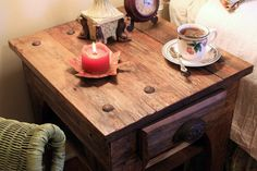 End Table / Nightstand (Simply Riveting), Rustic, Reclaimed Wood, Light Brown Finish  - Handmade on Etsy, $375.00