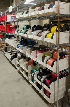 Akro-Mils' 1800 Series AkroBins are tough enough to hold these heavy spools of wire. #organize #storage