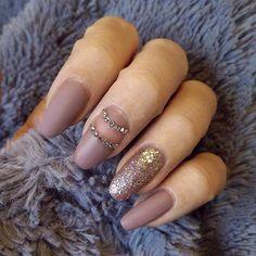 Dark Nude Matte Nail Design for Long Nails