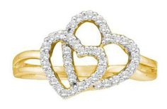 0.25 cttw 14k Yellow Gold Diamond Two Hearts Double Heart Promise Ring Split Shank Setting (Real Diamonds: 1/4...