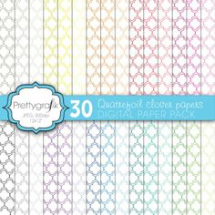 Quatrefoil clover digital paper | 30 quatrefoil clover patterned papers in an array of colors and hues, perfect for scrapbooking, product design, cards, and much more.