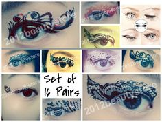 These seem like fun to play around with.   16 PAIR Temporary Eyeliner Tattoo Rock Eye Winged Sticker Body Art Henna Club 14.