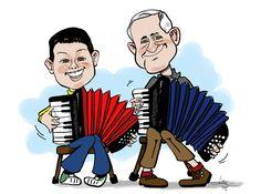 Kleinzoon en Opa op de accordion By Christel Schols, sneltekenaar.nl