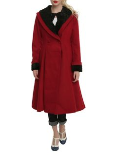 Vintage style red coat from Hell Bunny with a black velvet collar and cuffs and two-button closure.