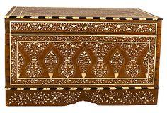 "Chest w/ Floral-Motif Bone Inlay  -  India  -  28""L x 16""W x 16""H  -  OneKingsLane.com  -  ($4,000.00)  $1,950.00"