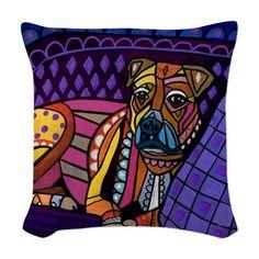 Boxer Art Pillow  Dog    Modern Abstract Art by HeatherGallerArt