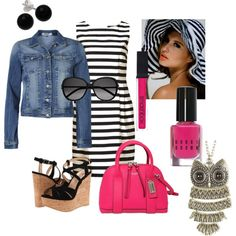 """Stripes"" by heartcat22 on Polyvore. I have a similar dress with slightly ruffled black and white layers, and a floppy black and white striped hat. I need to wear my hat more this spring and summer to help my rosacea. I have the denim jacket, shoes and a hot pink purse and nail polish. I need the lip gloss and a cute owl necklace like this."