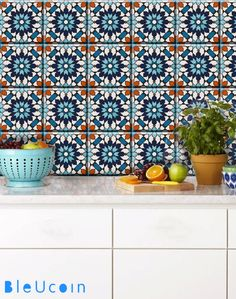 Moroccan Tile/ Wall/ Floor/ Stair Riser Vinyl Decal for Kitchen/ Bathroom/ Home, Removable Tile Stickers: Pack of 44 pcs Tile Decals, Wall Decal Sticker, Wall Tiles, Vinyl Decals, Blue Moroccan Tile, Moroccan Style, Moroccan Bathroom, Peel And Stick Tile, Stick On Tiles