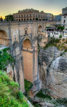Roman aqueduct in Ronda, Spain.: Roman aqueduct in Ronda, Spain. Places Around The World, Oh The Places You'll Go, Places To Travel, Places To Visit, Around The Worlds, Ronda Malaga, Empire Romain, Voyage Europe, Belle Villa