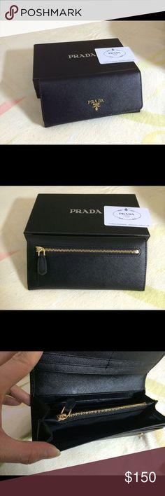 New Prada Saffiano Leather Wallet Black Beautiful brand new wallet. No trades. Prada Bags Wallets - bags, cute, celine, black, clutch, for men bag *ad
