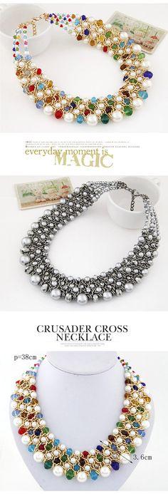 Fashion Multicolor Pearl Decorated Multilayer Weave Design Alloy Fashion Necklaces ,Fashion Necklaces