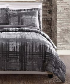 Gray Camden Plaid Reversible Comforter Set #zulily #zulilyfinds