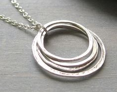 Kleine cirkels ketting, Sterling Zilver vier gelaagde cirkels, Yoga sieraden