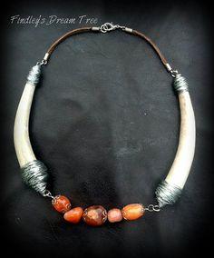 Deer Antler - jewelry - River Rock wire wrapped Necklace-REAL DEER ANTLER-made from deer antler