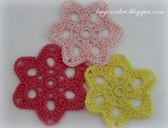 Crochet Flower Motif, easy pattern, only 4 rounds
