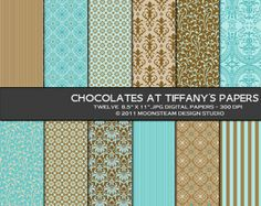Chocolates at Tiffanys Digital Papers, Blue Brown Patterned Digital Backgrounds, 8.5x11 or 12x12 or A4, Personal or Commercial Use