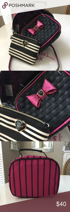 """🍂New🍂Betsey 3 Piece Train Case Beautiful 3 piece set of travel bags with clear logo front on main bag.  2nd bag is a beautiful Black with bright pink piping & pink glitz bow. The 3rd bag has a wrist strap if you want to use it for a wristlet. XOX Betsey logo on clear front of large bag. 2nd bag is 11.5"""" x 8.5"""". 3rd bag is 7"""" x 5"""". NWT Betsey Johnson Bags"""