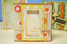 Oh My Crafts Blog: Love in a Jar Card - Supplies Used:  American Crafts : Dear Lizzy Neopolitan Collection  My Mind's Eye : Twine  EKSuccess : EK Tools - Bumpy Road Edger Punch  White Cardstock  Jenni Bowlin : Yellow Ink  May Arts : String/Burlap - Natural   Doodlebug Glitter   Sewing Machine with White Thread   -- instructions on blog