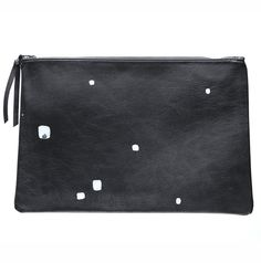 Circle white handprint mensover leather clutch by StudiosByJ