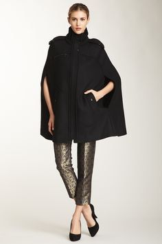 Cole Haan Ribbed Wool Cape, Black