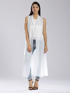 b1a055b066f1 Buy W White Polyester Checked Sheer A-Line Shrug online