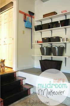 my{DIY}habits: Mini Mudroom Makeover Entry Closet, Entry Foyer, Garage Remodel, Home Improvement Projects, Mudroom, Bookcase, Sweet Home, Shelves, Mini