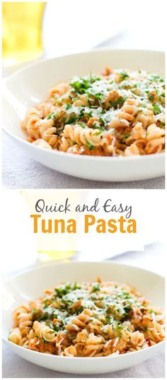 This Quick Easy Tuna Pasta is a delicious and healthy meal to make when when time is short and you still want to make a nutritious meal for dinner or lunch. primaverakitchen.com: