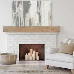 Empty Fireplace Ideas, Rustic Fireplace Mantels, Paint Fireplace, Fireplace Shelves, Fireplace Design, Diy Faux Fireplace, Above Fireplace Decor, Fireplace Refacing, Brick Fireplace Remodel