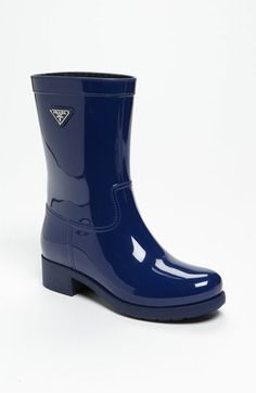 A smart blue short boot to keep your tootsies dry! Prada Rubber Rain Boot (Women) | Nordstrom