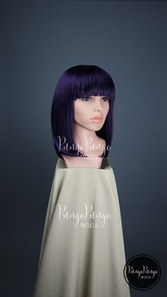 Dark Purple Wig / Black Mix Straight Long Bob + Bangs / Short Edgy Party Sci Fi Punk Cosplay Anime My Little Pony Unicorn Costume Katy Perry…
