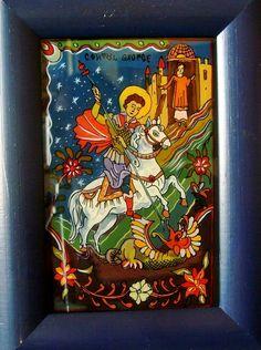 Icoana pe sticla  - Sfantul Mare Mucenic Gheorghe  - autor: Florian Colea - Targoviste, Romania Biblical Art, Religious Images, Saint Michel, Saint George, Orthodox Icons, Folk Art, Christian, Glass, Pictures