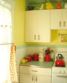 Vintage style kitchen in pale yellow, 1950's, retro, and kitchy