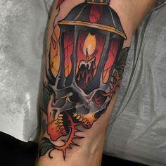 Lantern Skull by @shio1red at @blessedtattoozgz at Zaragoza Spain. #lantern #candle #fire #skull #shio1red #blessedtattoozgz #zaragoza #spain #tattoo #tattoos #tattoosnob