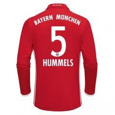Fodboldtrøjer Bundesliga Bayern Munich 2016-17 Hummels 5 Hjemmetrøje Langærmede