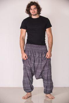 Aztec Stripes Low Cut Men's Harem Pants in Gray