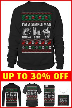 I'm a simple man, love fishing, beer and sex. Ugly Christmas gifts for men Fishing World, Ugly Xmas Sweater, Simple Man, Fish Man, Christmas Gifts For Men, Being Ugly, Beer, Sweaters, Root Beer