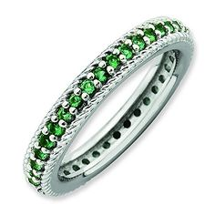 Sterling Silver Stackable Expressions Polished Cr Emerald Eternity Ring Size 7 *** Want to know more, click on the image. #XmasWomenClothing