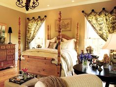 country french master bedroom ideas   master bedroom with bold-patterned window treatments