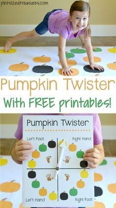 DIY Pumpkin Twister Game · Treasures in pint sizeThis DIY pumpkin twister game is the perfect fall activity for your preschooler to learn coors, coordination, and instructions! Free to print out included! Theme Halloween, Halloween Games For Kids, Halloween Activities, Fall Halloween, Fall Festival Games, Fall Games, Autumn Activities For Kids, Fall Preschool, Toddler Activities