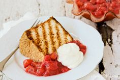 Grilled Angel Food Cake with Mom's Super Simple Rhubarb Sauce » a farmgirl's dabbles
