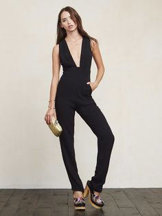 A really good jumpsuit can make you feel sexier than any dress can. The Ceci Jumpsuit is just a chic thing you can wear day or night. This is a ghost crepe jumpsuit with a deep V neckline, fitted waist and side pockets. https://www.thereformation.com/products/ceci-jumpsuit-black?utm_source=pinterest&utm_medium=organic&utm_campaign=PinterestOwnedPins